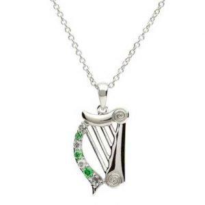 Stone Set Harp With Celtic Design