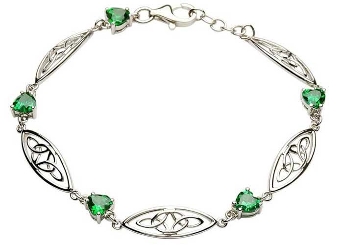 Silver-Celtic-Stone-Set-Trinity-Bracelet