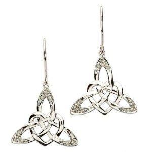 silver celtic wed earrings