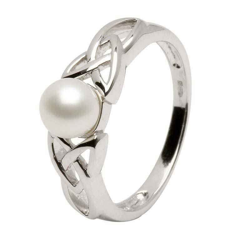 Celtic Trinity Knot Pearl Silver Ring