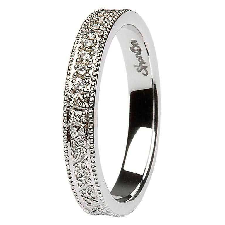 Celtic Trinity Knot Diamond Set 14K White Gold Wedding Ring