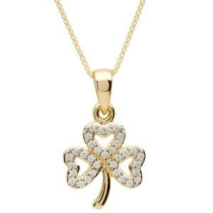 10K Gold Shamrock Stone Set Necklace 10P651