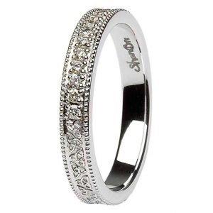 Celtic Trinity Knot Diamond Set 14K White Gold Wedding Ring Br5W