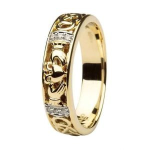 Claddagh Diamond Ladies Wedding Ring With Celtic Knot Design 14Ic3