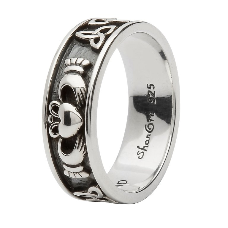 Silver Claddagh And Trinity Knot Ring Sd21