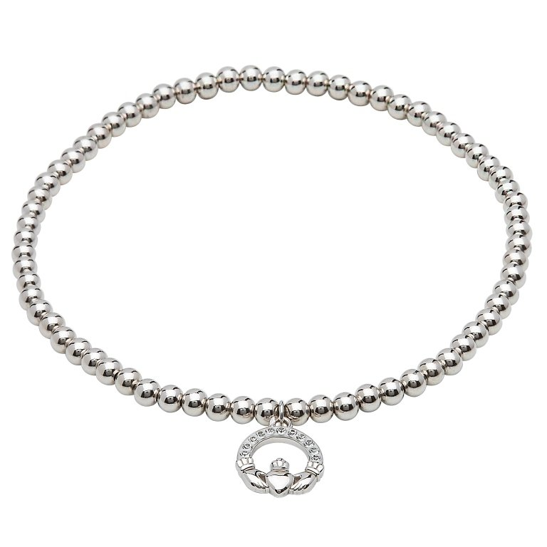 Sterling Silver Claddagh Bracelet Adorned With White Swarovski Crystal Sw68