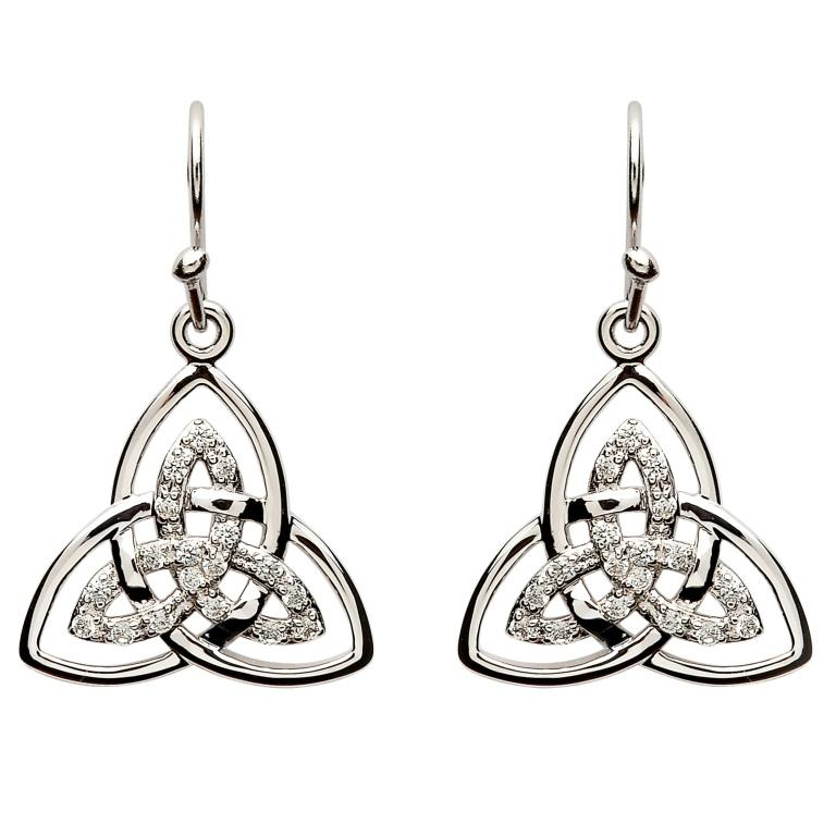 Stone Set Trinity Knot Earrings Se2113Cz