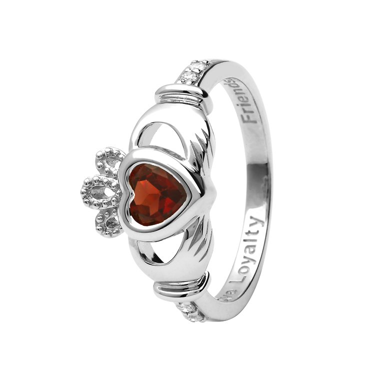 Gold 14K Claddagh January Birthstone Ring