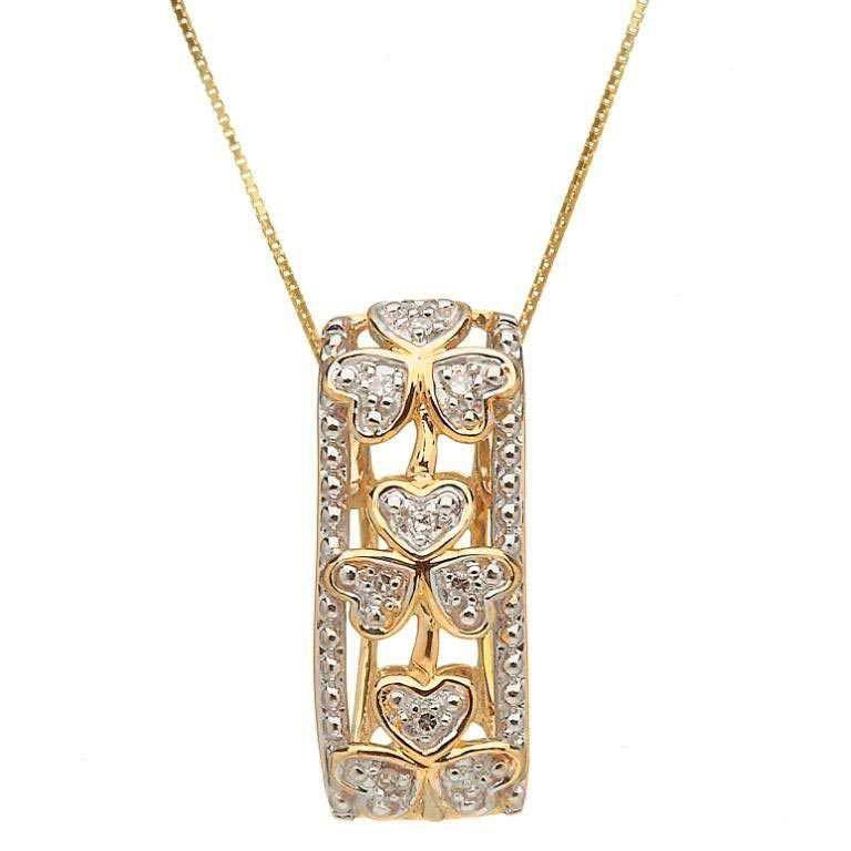 10 Karat Diamond Set Shamrock Pendant 10P611D