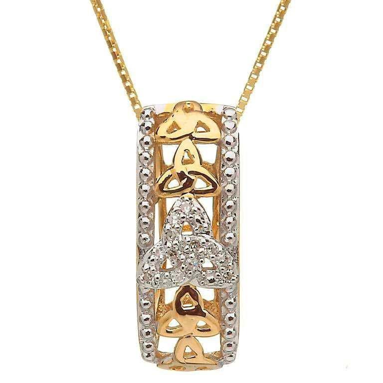 10 Karat Gold Diamond Set Trinity Knot Pendant 10P610D