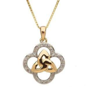 10 Karat Gold Diamond Trinity Knot Design Pendant 10P605D