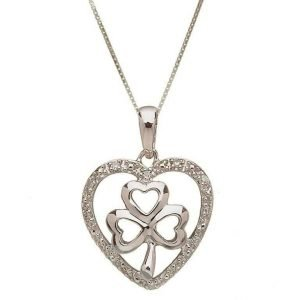 10 Karat Gold Shamrock Diamond Set Pendant 10P613Wd
