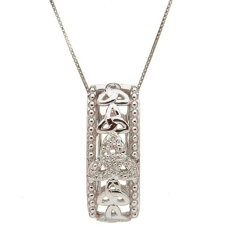 10 Karat Gold Trinity Knot Diamond Set Pendant 10P610Wd