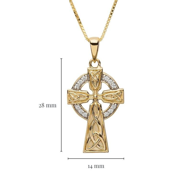 10K Gold Stone Set Trinity Celtic Cross 10P655 with Measurement
