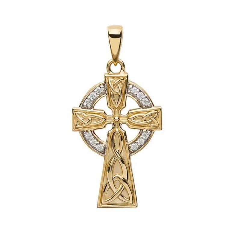 10K Gold Stone Set Trinity Celtic Cross No Chain
