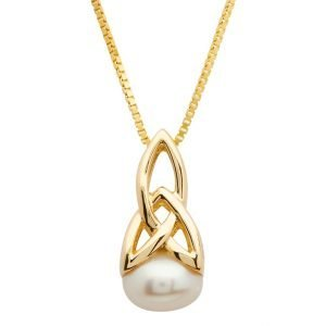 10K Gold Celtic Pearl Trinity Necklace 10P640