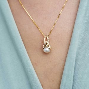 10K Gold Celtic Pearl Trinity Necklace 10P640_2