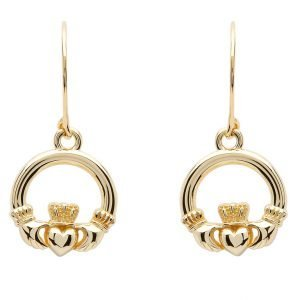 10K Gold Claddagh Earrings 10E635