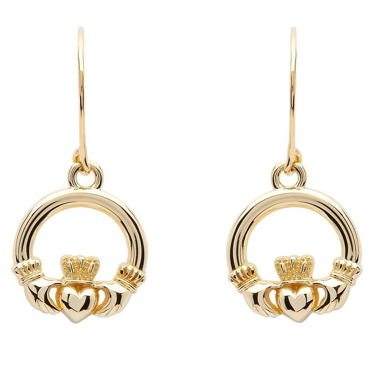 10K Gold Claddagh Earrings 10E635