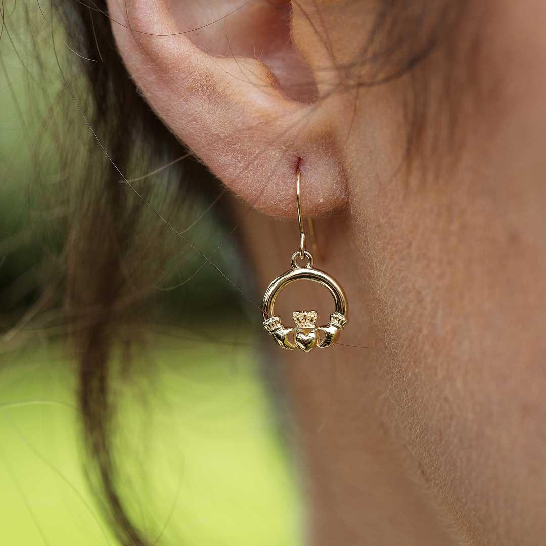 10K Gold Claddagh Earrings 10E635_2