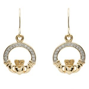 10K Gold Claddagh Pave Set Earrings 10E632