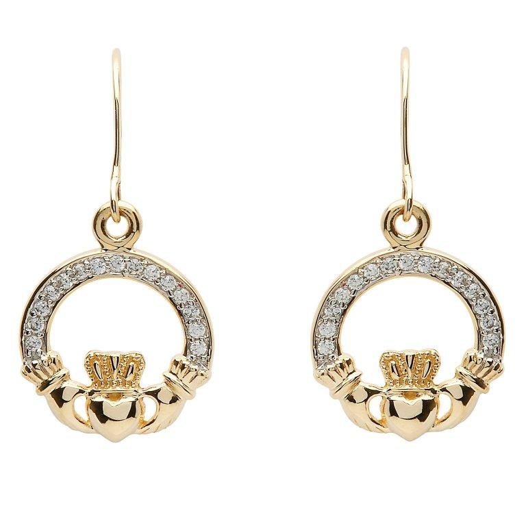 10K Gold Claddagh Pave Set Earrings 10E632
