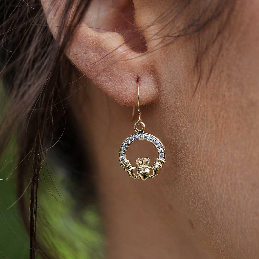 10K Gold Claddagh Pave Set Earrings 10E632_2