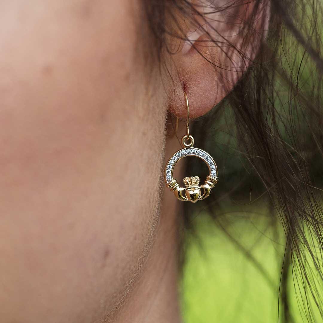 10K Gold Claddagh Pave Set Earrings 10E632_3