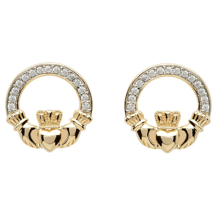 10K Gold Claddagh Pave Set Stud Earrings 10E633