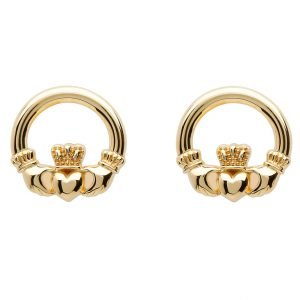 10K Gold Claddagh Stud Earrings 10E636