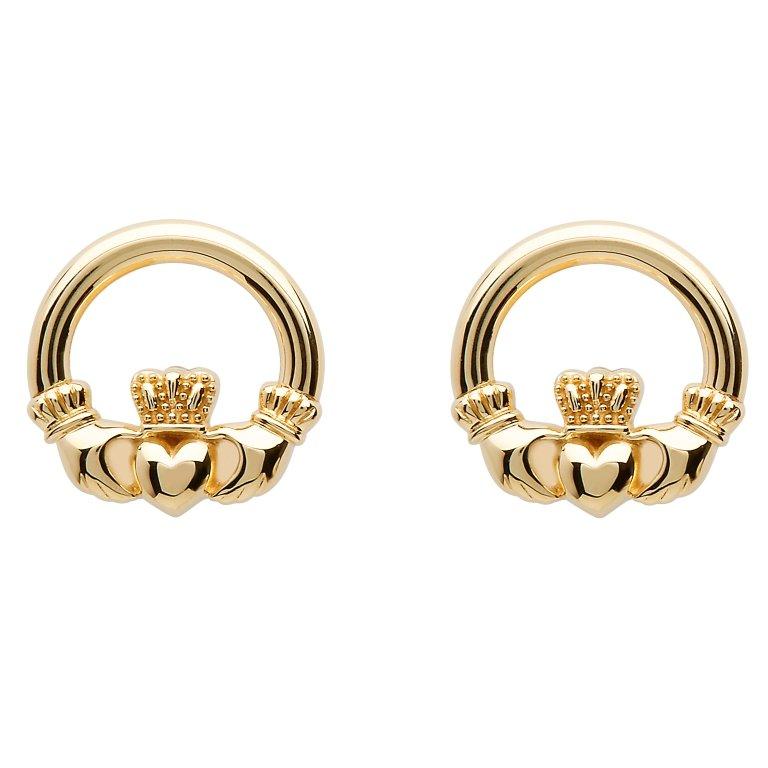 10K Gold Claddagh Stud Earrings 10E636