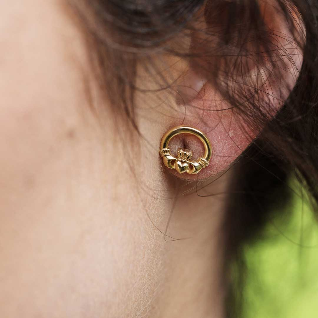 10K Gold Claddagh Stud Earrings 10E636_2