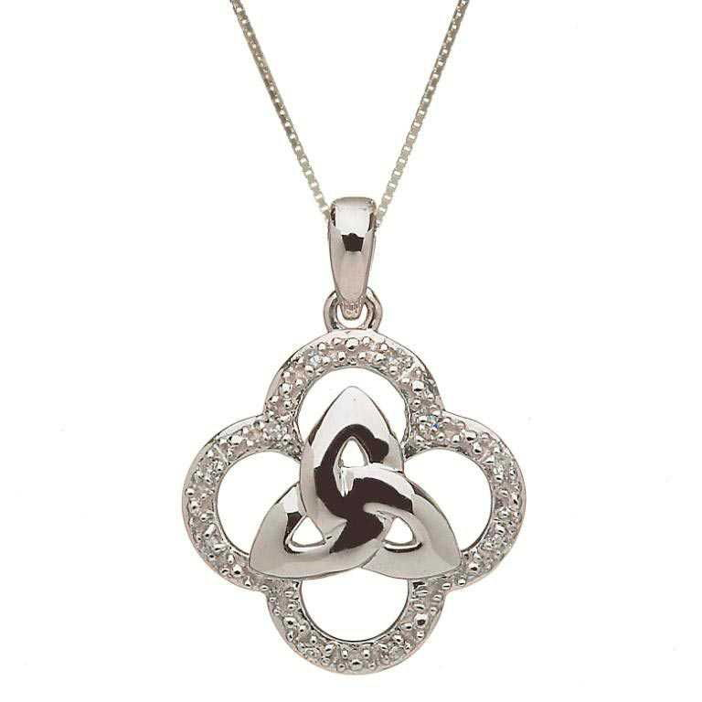 10K Gold Diamond Trinity Knot Design Pendant 10P605Wd