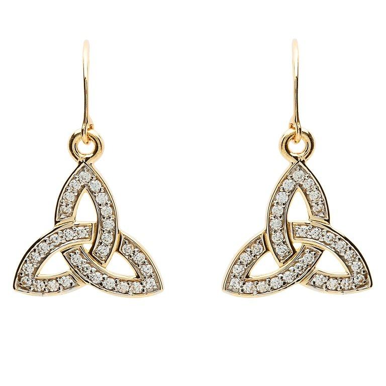 10K Gold Pave Set Trinity Knot Earrings 10E650