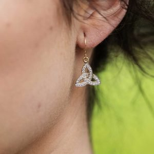 10K Gold Pave Set Trinity Knot Earrings 10E650_2