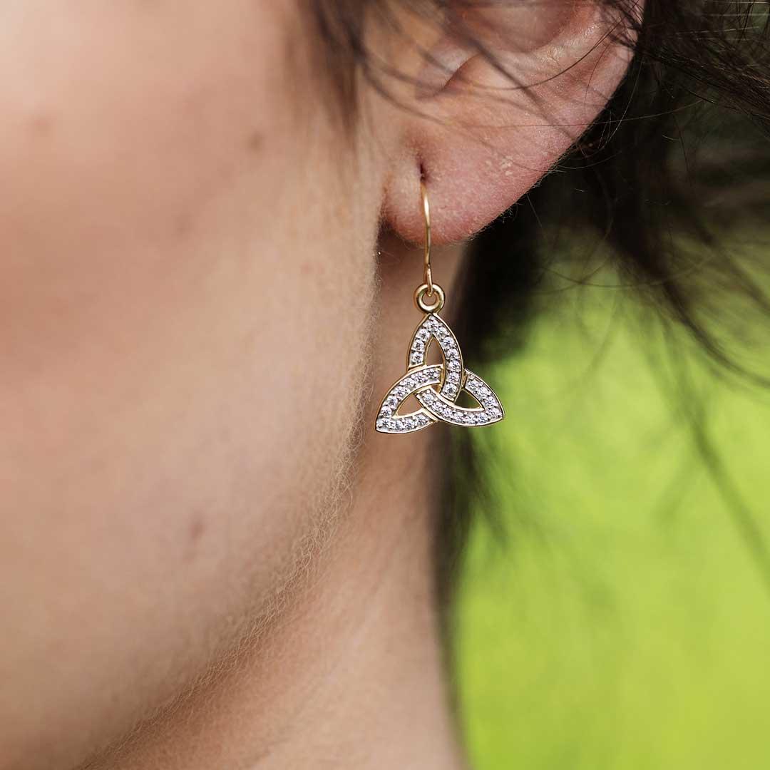 10K Gold Pave Set Trinity Knot Earrings 10E650_2
