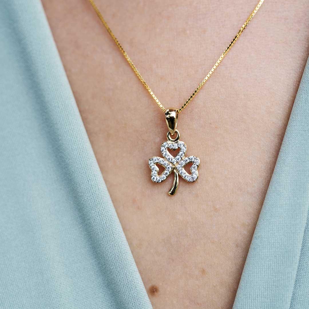 10K Gold Shamrock Stone Set Necklace 10P651_2