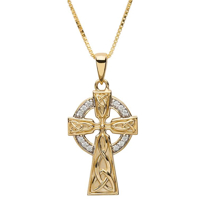 10K Gold Stone Set Trinity Celtic Cross 10P655