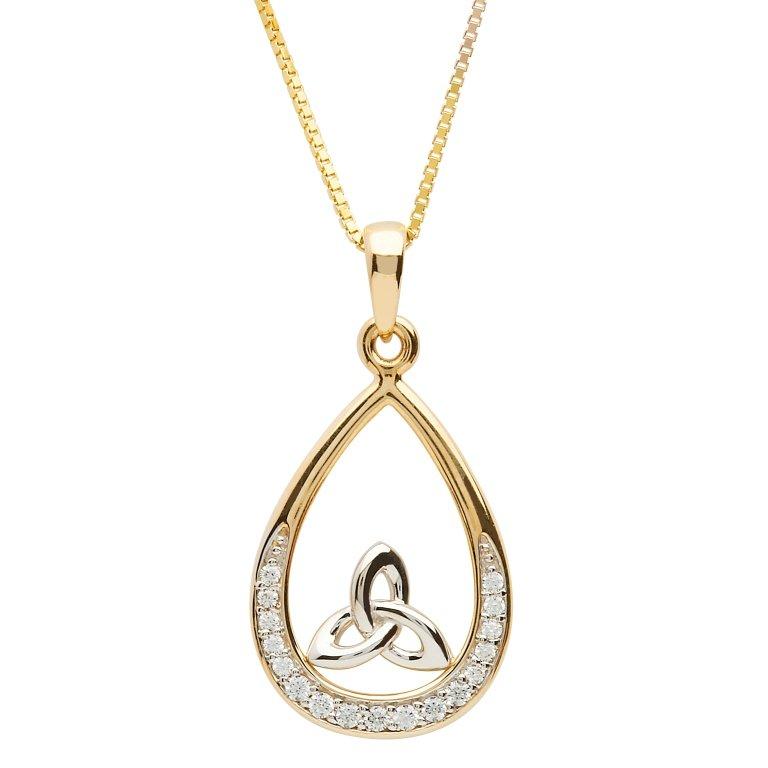10K Gold Stone Set Trinity Necklace 10P645
