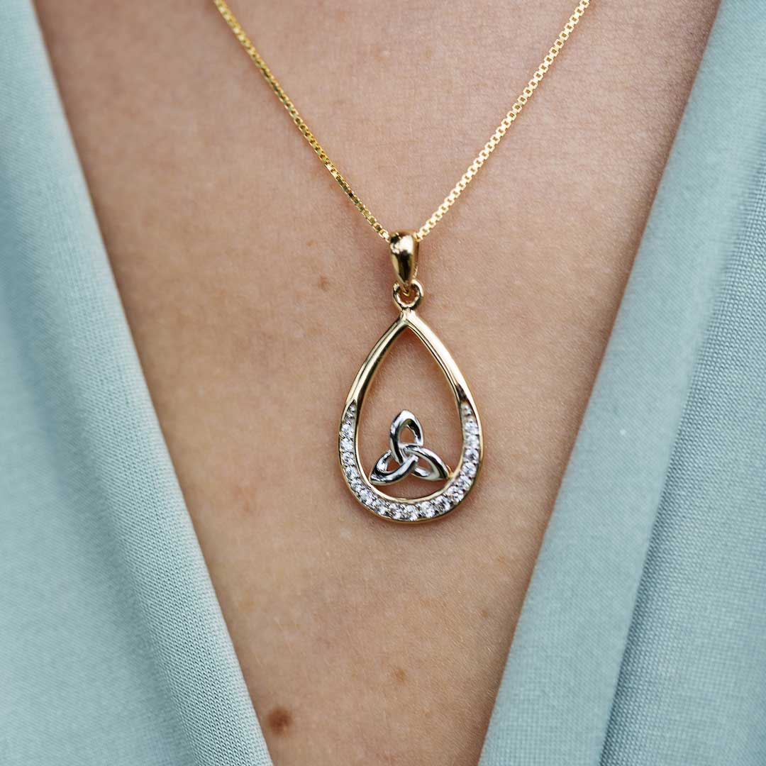 10K Gold Stone Set Trinity Necklace 10P645_2