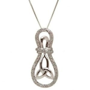 10K Gold Trinity Knot Diamond Set Pendant 10P608Wd