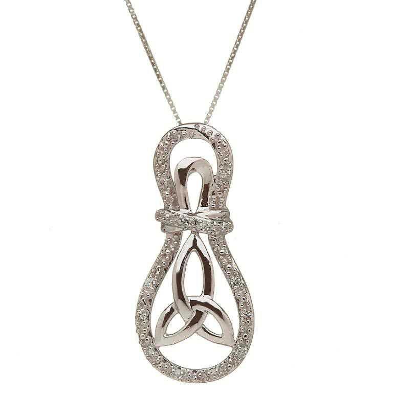 10K Gold Trinity Knot Diamond Set Pendant 10P608Wd