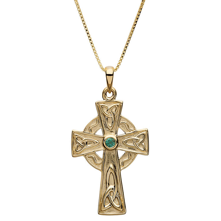 10K Trinity Gold Cross Set With Real Emerald 10P658