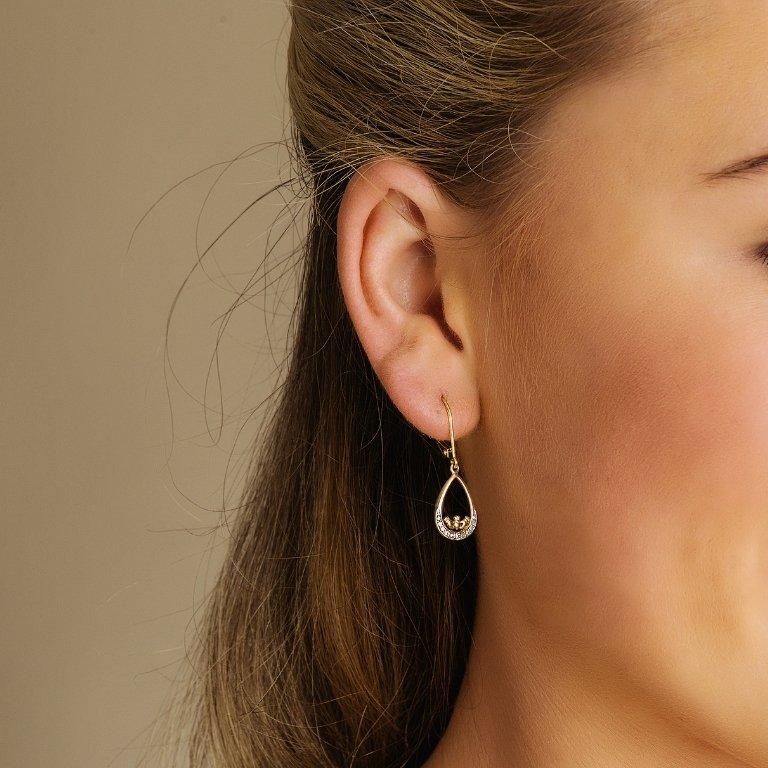 14K Gold Diamond Set Claddagh Drop Earrings