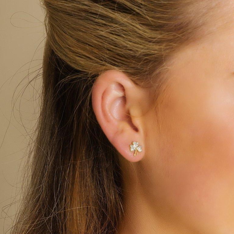 14K Gold Diamond Set Shamrock Stud Earrings