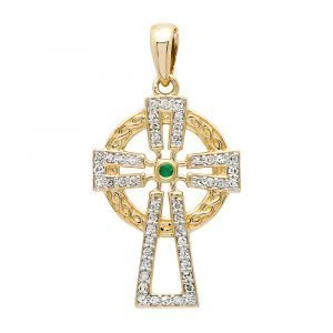 14K-Gold-Emerald-And-Diamond-Cross