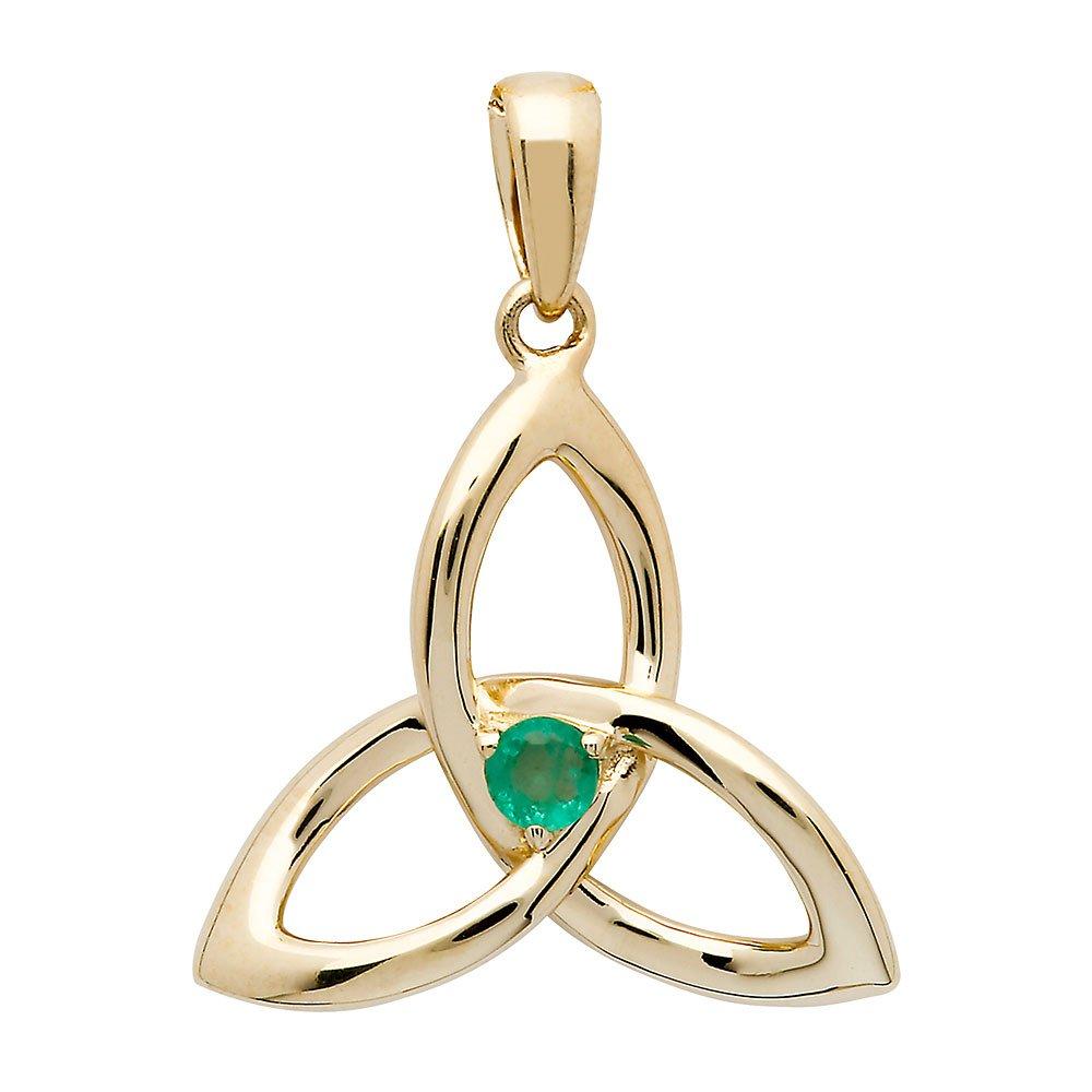 14K-Gold-Emerald-Trinity-Knot-Pendant