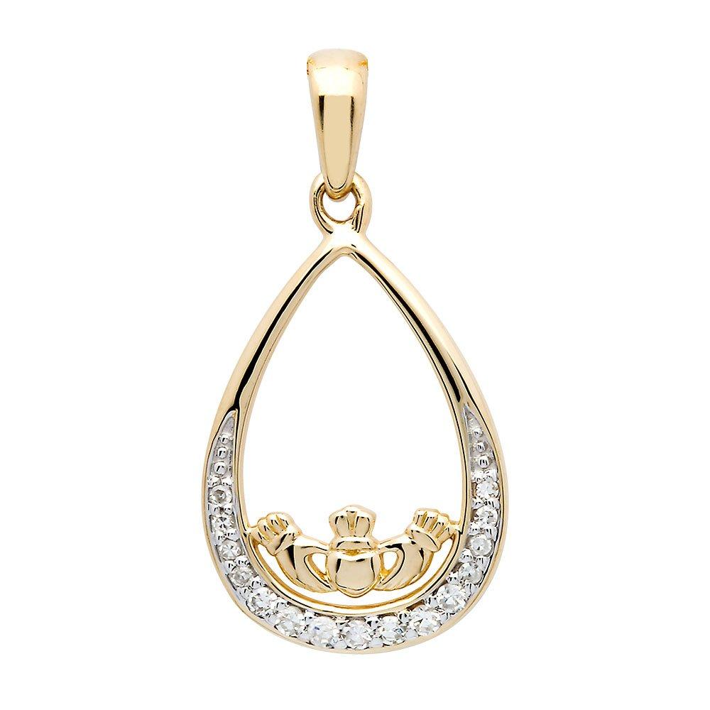 14K-Gold-Teardrop-Diamond-Set-Claddagh-Pendant