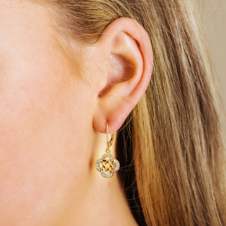 14K Yellow Gold Celtic Drop Earrings With Pave Set Diamonds