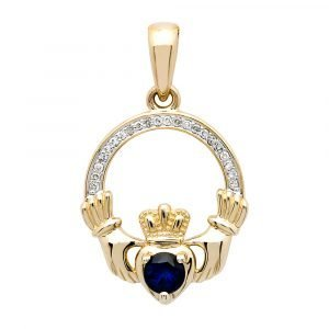 14K-Yellow-Gold-Claddagh-Pendant-Set-With-Diamond-And-Sapphire